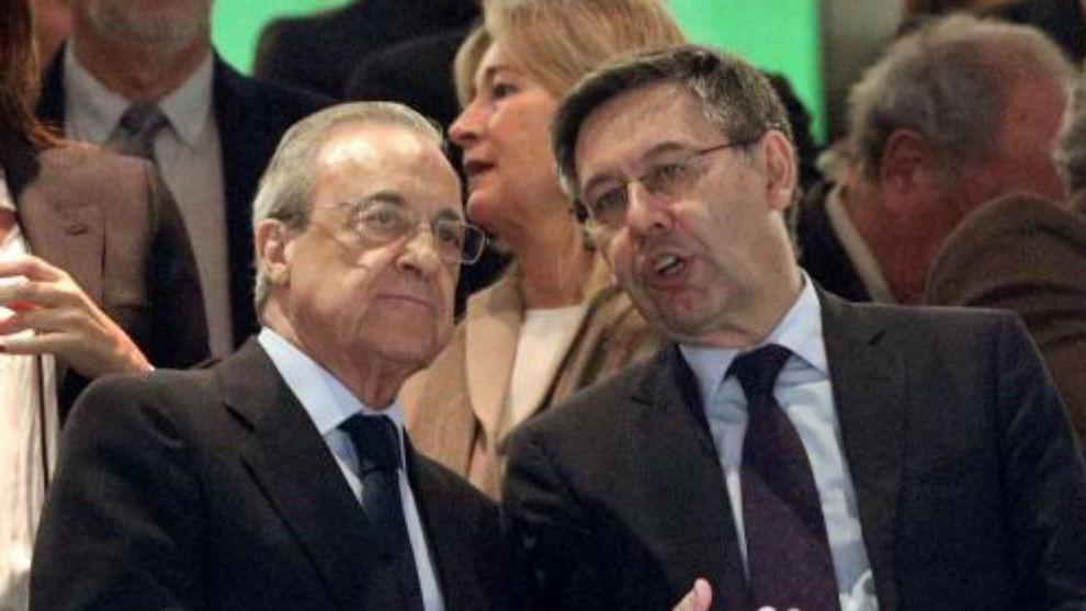 Florentino y Bartomeu en el palco del Bernabéu el pasado domingo.