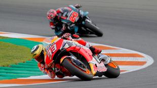 Marc Marquez y Fabio Quartararo en actividad de la temporada pasada.