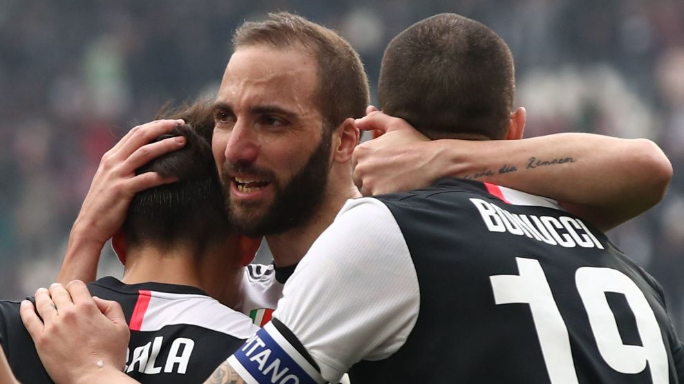 Higuain celebrates for Juventus.