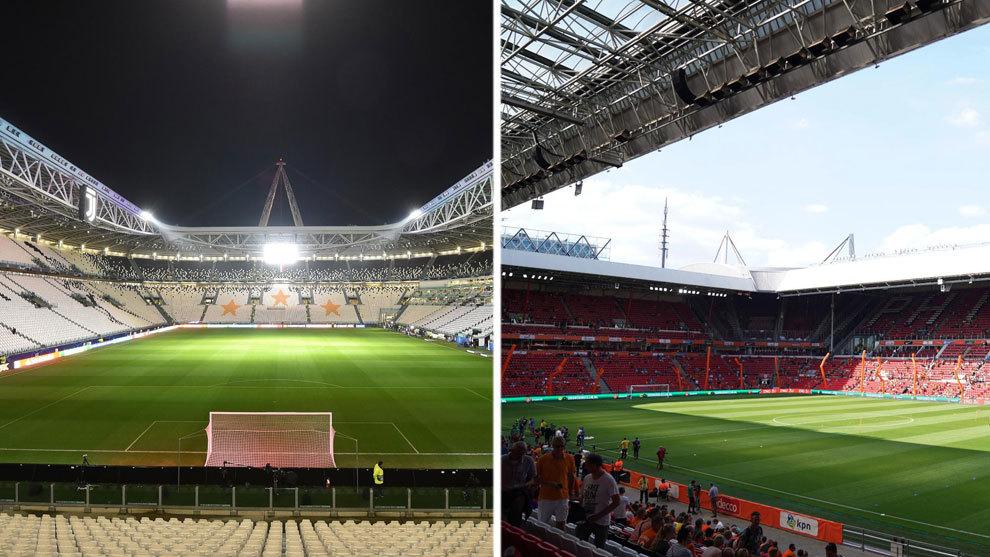 A la izquierda, el Juventus Stadium / A la derecha, el Philips Stadion...