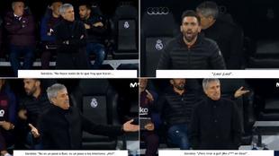 Distintos comentarios de Eder Sarabia en el banquillo del Bernabéu