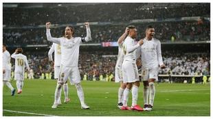 Ramos grita eufórico tras el gol de Mariano.