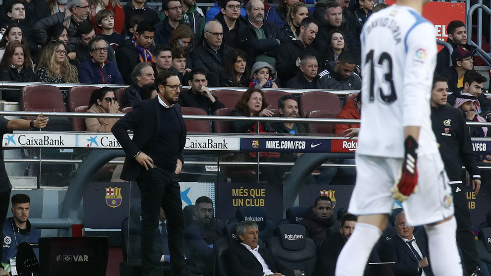 José Bordalás, en el Camp Nou en el partido ante el Barça de esta...