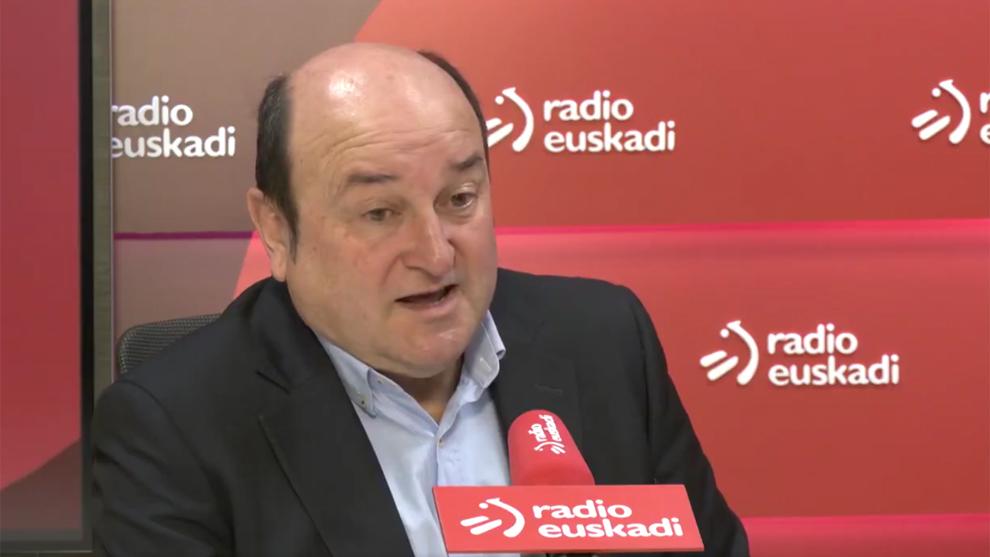 Andoni Ortuzar, presidente del Partido Nacional Vasco (PNV), durante...