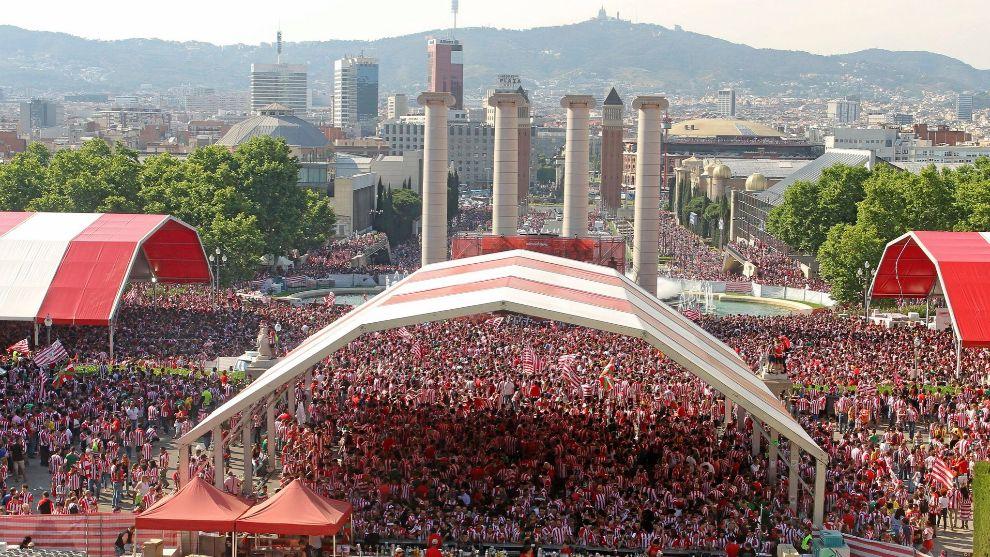 Imagen de la fan zone del Athletic en su última final de Barcelona en...