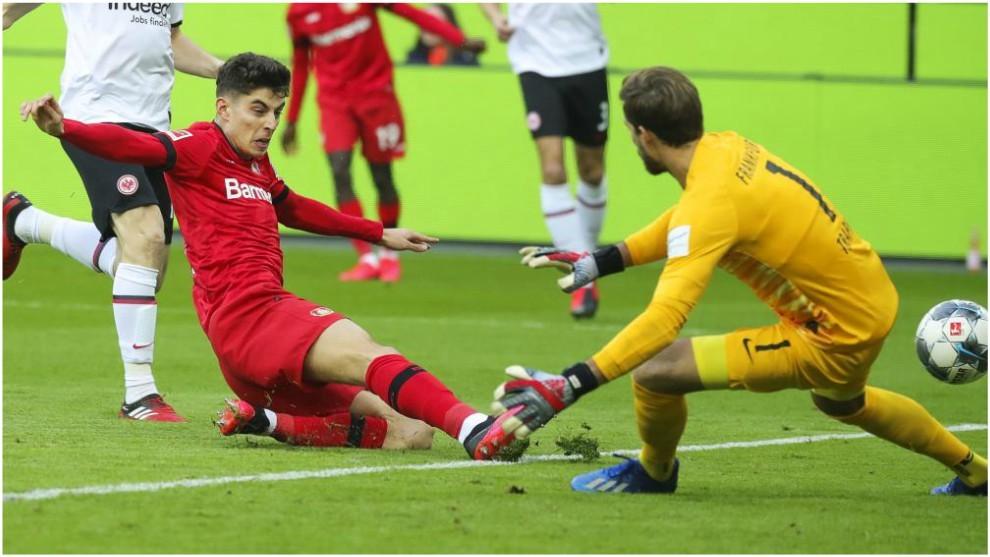 Havertz marca el gol del Leverkusen.