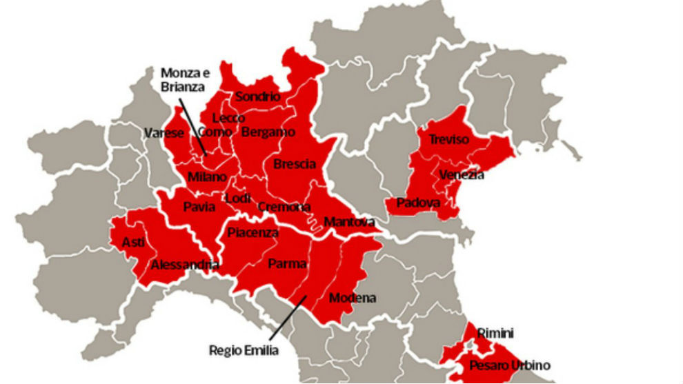 Las zonas rojas aisladas en Italia.
