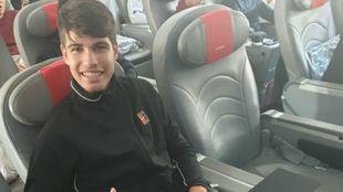 Carlos Alcaraz, en el avión camino a Indian Wells