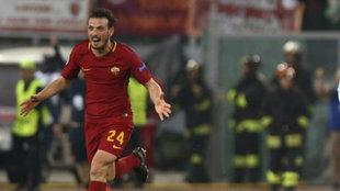 Florenzi celebra un gol con la Roma.