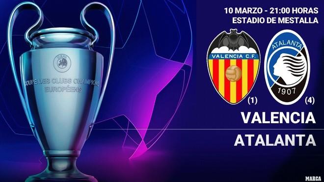 Valencia vs Atalanta: horario y donde ver hoy por TV la Champions...