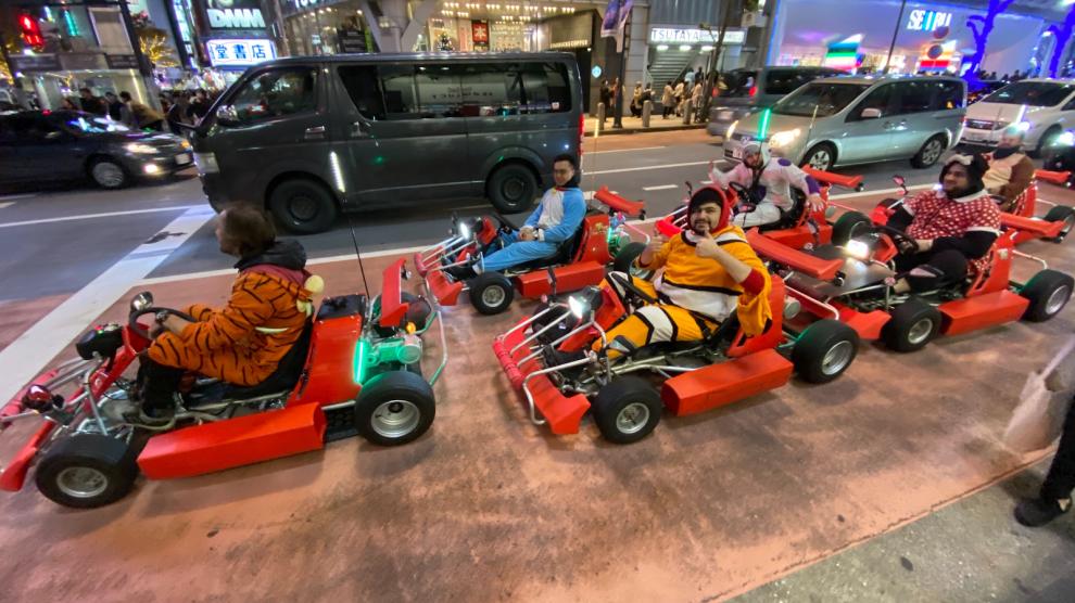 ¡Mario Kart REAL! Móntate en un kart y lanza mondas de plátano a tus rivales