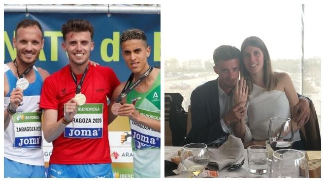 A la izquierda, Carlos Mayo en el podio del Campeonato de España de...