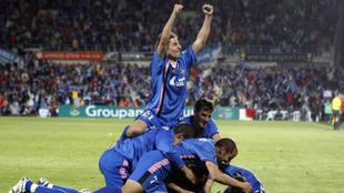 Los jugadores del Getafe celebran uno de los goles frente al Bayern