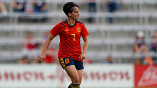 Marta Corredera durante un partido en la 'She Believes Cup'.