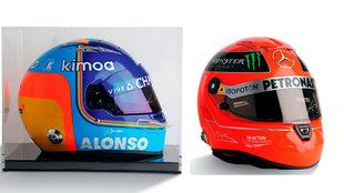 El casco de Schumacher podría alcanzar 2.000 euros, y el de Alonso,...
