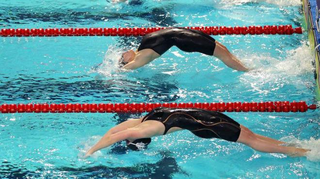 Una prueba de natación.