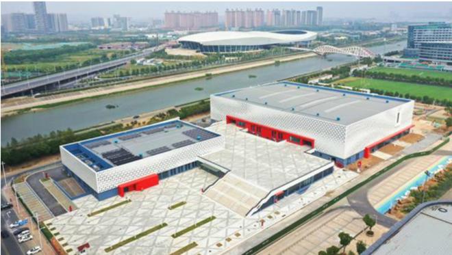 Una imagen del pabellón en Nanjing donde debía disputarse el...