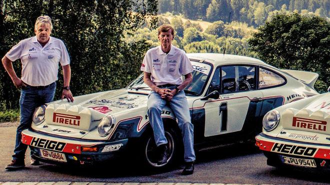 El dueño del Heigo-Porsche original, Steve Davies, y el ex piloto...