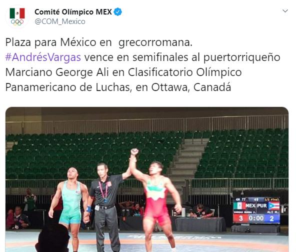 Así anunció el COM la plaza olímpica en lucha grecorromana