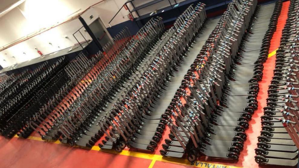 Imagen de uno de los almacenes en los que se preparan los patinetes