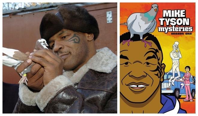 Mike Tyson con una de sus palomas y la carátula de su serie de...