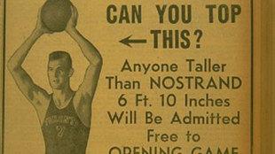 Cartel para promocionar el primer partido en la historia de la NBA