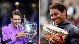 Nadal, con los trofeos del US Open y Roland Garros