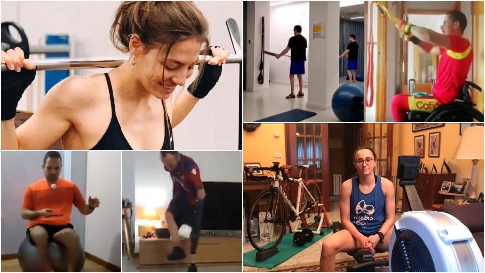 Deportistas paralímpicos españoles, entrenándose en sus casas.