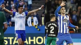 El Yamiq y  Sabin Merino celebran sendos goles con Zaragoza y...