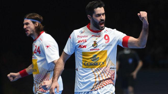 El capitán de la selección española, Raúl Entrerríos, durante el...