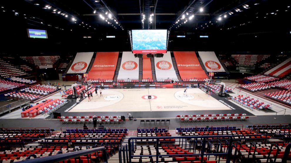 El pabellón de Olimpia Milano, vacío.