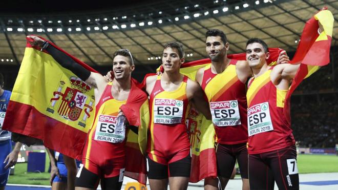 El 4x400 español bronce en el Europeo de Berlín 2018.