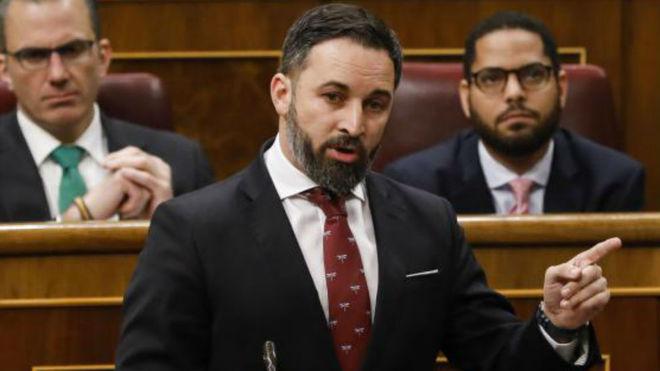 Santiago Abascal, líder de Vox, en el Congreso de los Diputados.