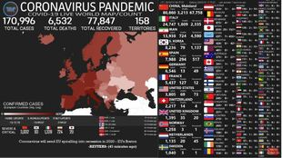 Mapa del coronavirus en España y el mundo en tiempo real.