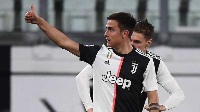 Dybala celebra su gol al Inter.