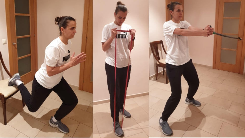 Andrea Vilaró hace algunos ejercicios en su casa.