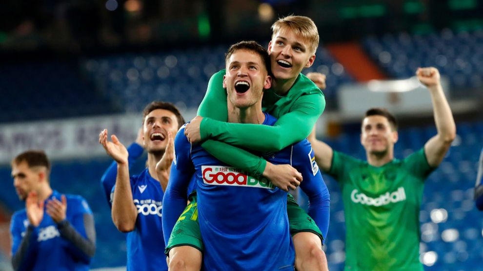 Remiro celebrates by boosting Odegaard the important Cup victory in the ...