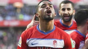 Yangel Herrera celebra un gol esta temporada con el Granada.