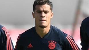 Coutinho, en un entrenamiento con el Bayern.