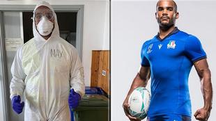 Maxime Mbandà, jugador de rugby de la selección de Italia y...