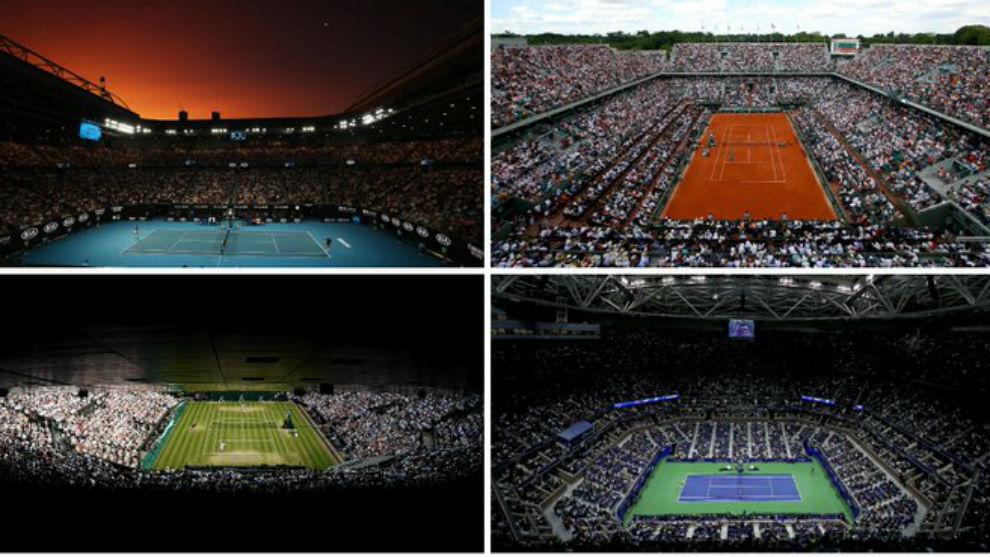 Las pistas centrales de los cuatro 'Grand Slam'