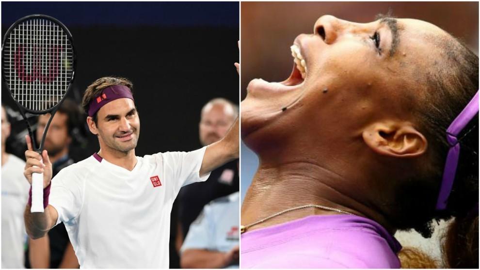 Federer y Serena, en acción