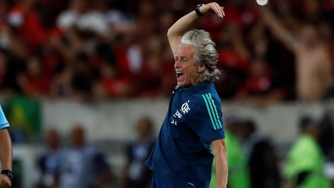 Jorge Jesus celebrates for Flamengo.