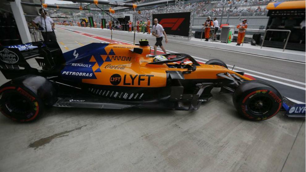 Norris, con el McLaren en Rusia.