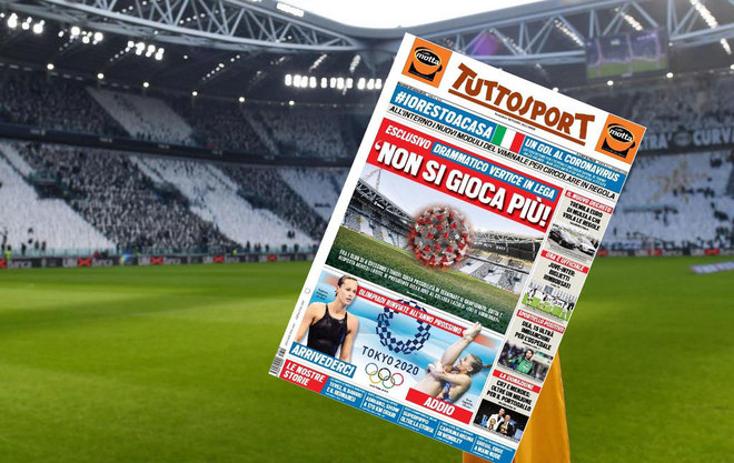 Imagen del Allianz Stadium y portada de 'Tuttosport'.