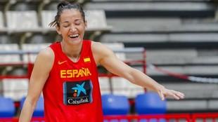 Laia Palau, durante un entrenamiento con la selección española.