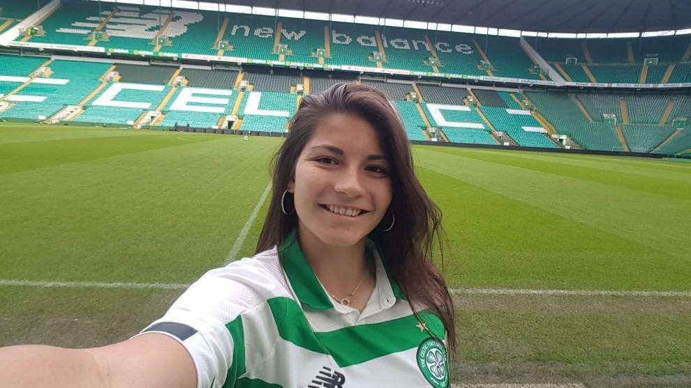 Anita Marcos durante su presentación con el Celtic de Glasgow.