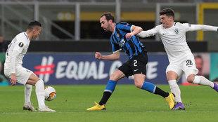 Godín, en un partido con el Inter.