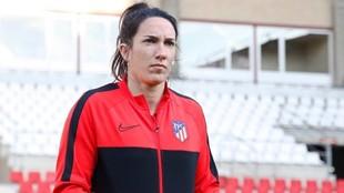 Silvia Meseguer en la previa de un partido esta temporada.