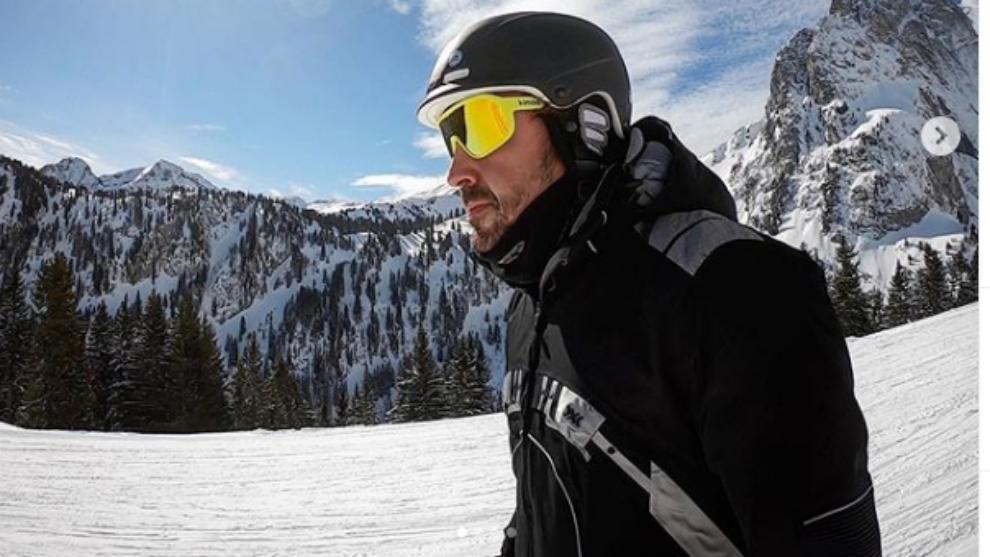 Alonso, en sus vacaciones en la montaña.